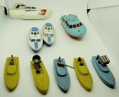 Lot Of Vintage- Toy Boats- Late 60's - Early 70's - 9 Pcs. Made In Hong Kong/...