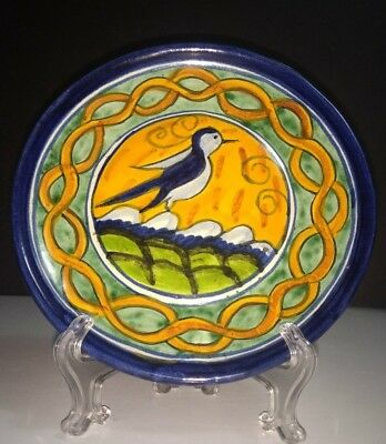 """Vintage Talavera Mexican Pottery Hand Painted 8"""" Blue Bird Wall Plate Unmarked"""