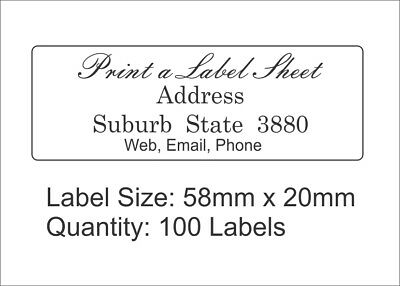 100 Personalised Return Address Labels Custom Stickers 58mm x 20mm Laser Printed