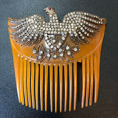 Antique Brass / Rhinestone Eagle Hair Comb ~ Victorian ~ Edwardian ~ Original