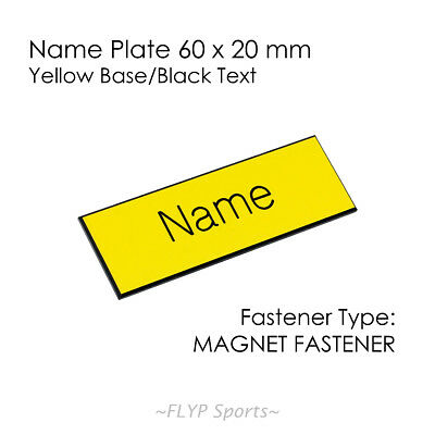 Name Badge Tag Plate Yellow/Black Magnet 6x2cm Personalised Engraved Customis...