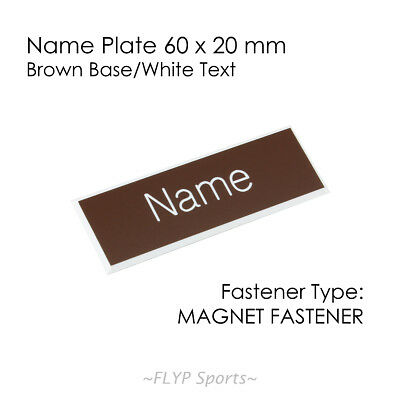 Name Badge Tag Plate Brown/White Magnet 6x2cm Personalised Engraved Customise...