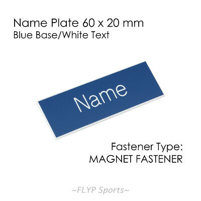 Name Badge Tag Plate Blue/White Magnet 6x2cm Personalised Engraved Customised...