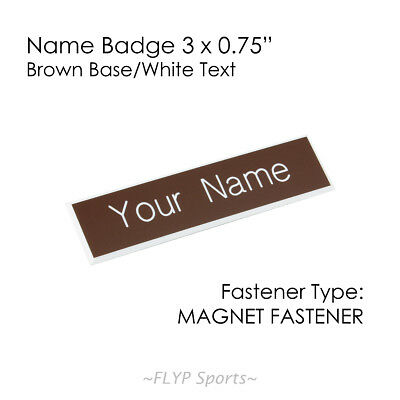 """Name Badge Tag Plate Brown/White Magnet 3x0.75"""" Personalised Engraved Employe..."""