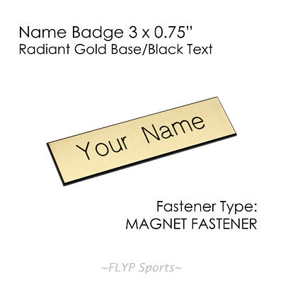 "Name Badge Tag Plate Gold/Black Magnet 3x0.75"" Personalised Engraved Employee..."