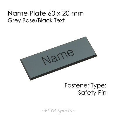 Name Badge Tag Plate Grey/Black Safety Pin 6x2cm Personalised Engraved Employee