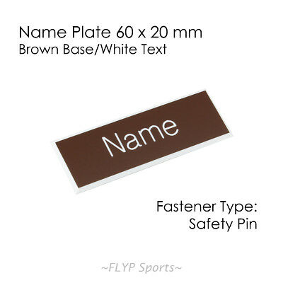 Name Badge Tag Plate Brown/White Safety Pin 6x2cm Personalised Engraved Employee