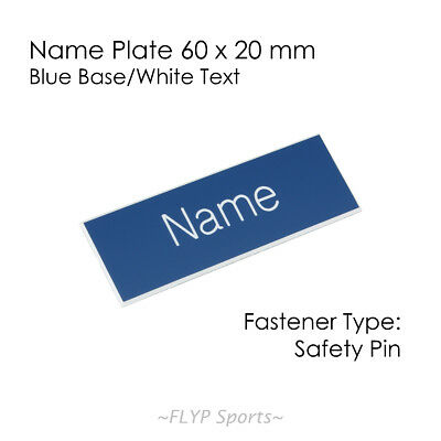 Name Badge Tag Plate Blue/White Safety Pin 6x2cm Personalised Engraved Employee