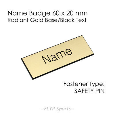 Name Badge Tag Plate Radiant Gold/Black Safety Pin 6x2cm Personalised Engrave...