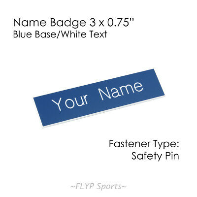 """Name Badge Tag Plate Blue/White Safety Pin 3x0.75"""" Personalised Engraved Cust..."""