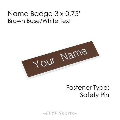 """Name Badge Tag Plate Brown/White Safety Pin 3x0.75"""" Personalised Engraved Cus..."""