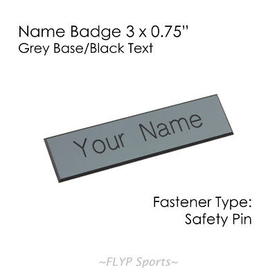 """Name Badge Tag Plate Grey/Black Safety Pin 3x0.75"""" Personalised Engraved Cust..."""