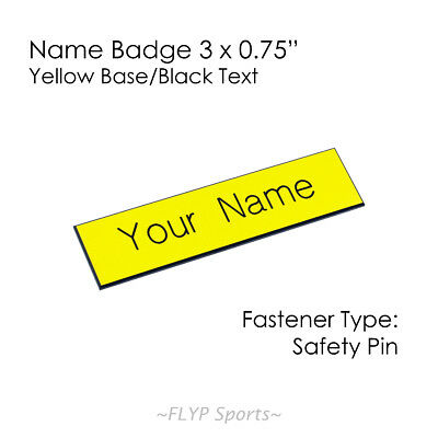 """Name Badge Tag Plate Yellow/Black Safety Pin 3x0.75"""" Personalised Engraved Cu..."""