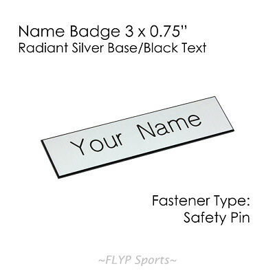 """Name Badge Tag Plate Radiant Silver/Black Safety Pin 3x0.75"""" Personalised Eng..."""