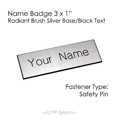"""Name Badge Tag Plate Radiant Silver/Black Safety Pin 3x1"""" Personalised Engrav..."""