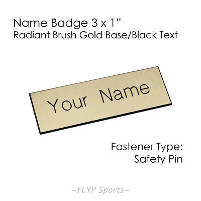 """Name Badge Tag Plate Radiant Gold/Black Safety Pin 3x1"""" Personalised Engraved..."""