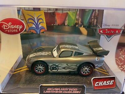 Pixar Cars Chase Disney Store Exclusive SILVER HOT ROD Lightning McQueen