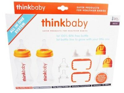 Thinkbaby All In One Bottle System Orange/Clear 0 to 48 Months Stage A-D 5pc NEW
