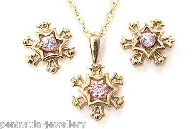 9ct Gold Pink CZ Pendant Necklace and Earring Set Gift Boxed Made in UK