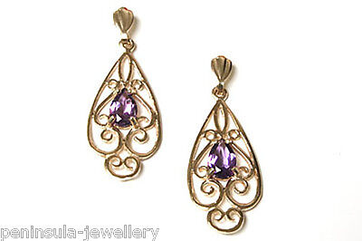 9ct Gold Amethyst drop Ornate Earrings Gift Boxed Made in UK