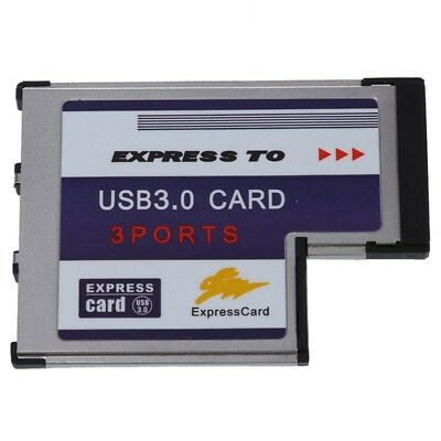 5X(3 Port USB 3.0 Express Card 54mm PCMCIA Express Card for Laptop NEW W3H3)