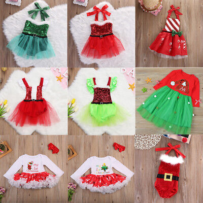 Christmas Santa Baby Girl Romper Tulle Sequins Tutu Dress Outfits Clothes Sets