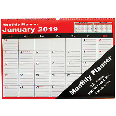 Cumberland 2019 Year Yearly Spiral Wall Planner 530 x 390mm - 3 Months to View
