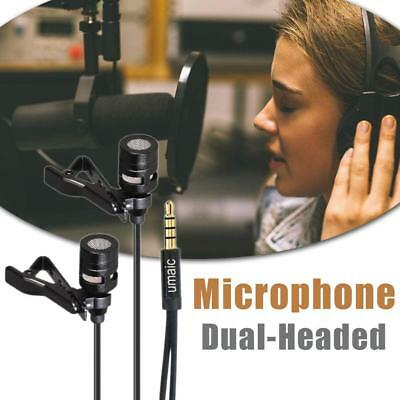 Mini Lavalier Lapel Microphone Dual Headed Recording Clip Mic For Mobile Phone