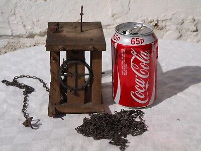 "ANTIQUE WOODEN CAGED CLOCK MECHANISM - AS IS - SPARES OR REPAIRS ""for 755baker"""