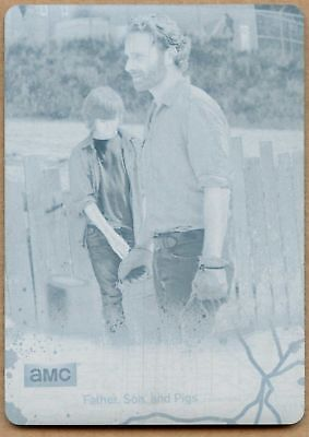 Father, Son The Walking Dead Season 4 Pt 1 Cyan Printing Plate Chase Card(C1703)