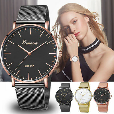Fashion Womens Mens Classic Quartz Stainless Steel Wrist Watch Bracelet Watches