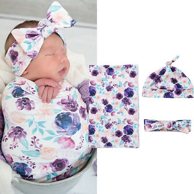 AU Newborn Baby Floral Snuggle Swaddling Wrap Blanket Sleeping Bag Swaddle 3Pcs