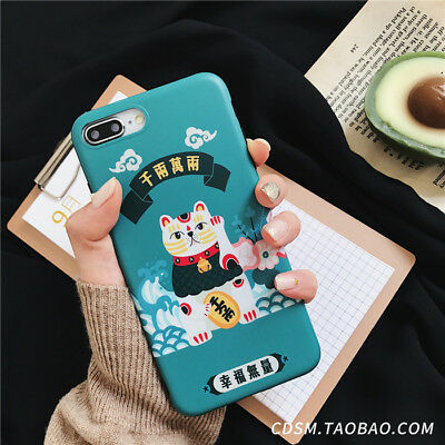 For iPhone X XS MAX XR 6 7 8Plus Japanese Cartoon Kawaii Lucky Cat Silicone Case