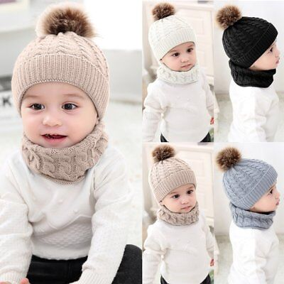 Newborn Kids Baby Boy Girl Fur Pom Hat Winter Warm Knit Bobble Beanie Cap +Scarf