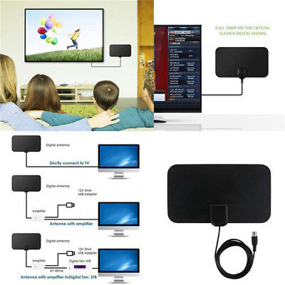 Super thin Digital Indoor HDTV Antenna Clear TV Amplified 50Mile With 13ft Cable