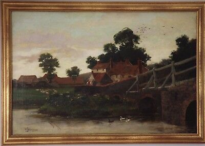 WILL ANDERSON c1900 English Village Scene Landscape Oil Painting. Signed.