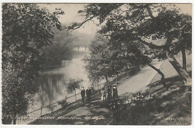 Vintage 1916 Postcard Children walking by River Kelvin Botanical Gardens Glasgow