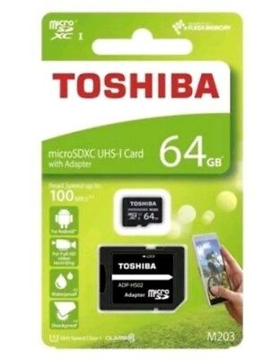NEW 64GB TOSHIBA MICRO SD SDXC UHS-I MEMORY CARD 100MB/S CLASS 10 with adapter