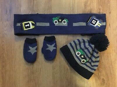 **kids Blue Vehicle Hat, Mittens And Scarf Set From Next**