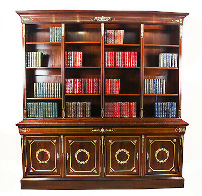 Antique French Napoleon III Empire Mahogany Bookcase Cabinet c.1870