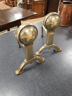 Pair of Vintage heavy brass fire dogs / andirons .. free .uk postage