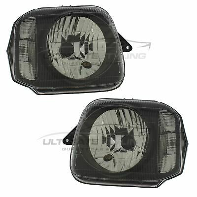 Suzuki Jimny 1998-> Black Front Headlight Headlamp Pair Left & Right