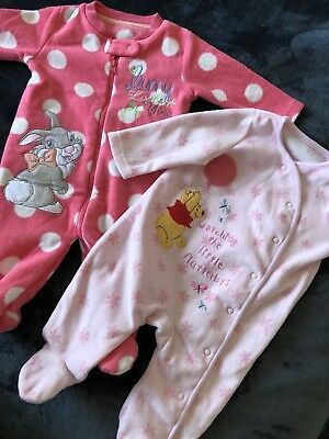 Disney Winnie The Pooh And Bambi Babygrows Outfits Age 0-3 Months Winter