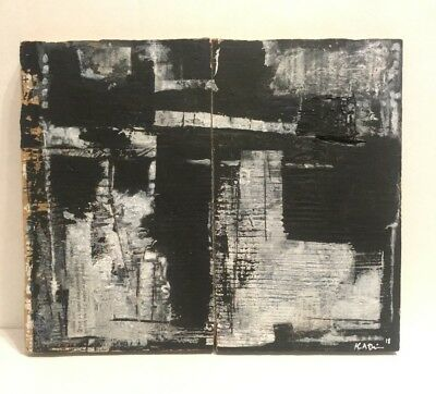 No.55 Diptych-Original Abstract Minimal Painting on Reclaimed Wood by K.A.Davis.