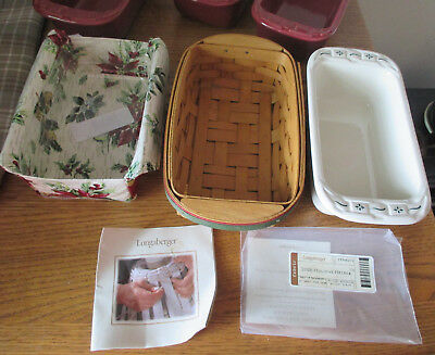 Longaberger Christmas Holiday Helper Basket Combo W Small Loaf Pan Pottery + 3