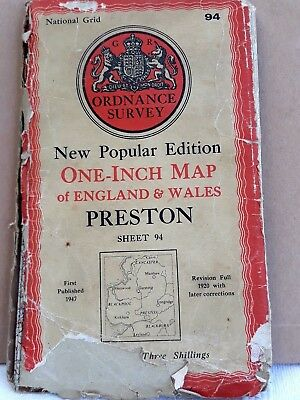 National Grid One Inch Map Preston  Plus O/s Clitheroe And Chipping