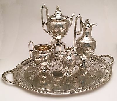 English Sterling Tea Set w/ Tray by Martin, Hall & Co. ca 1874 Greco-Roman Style