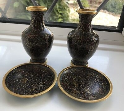 Pair of small  antique cloisonne enamel Japanese vases With Matching Dishes