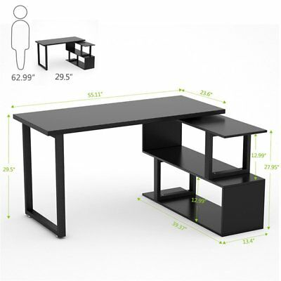 55u201d Rotating L Shaped Desk With Shelves Home Office Computer Desk Writing  Table
