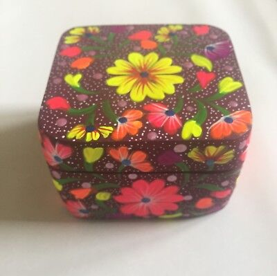Floral Wood Mexican Decorative Box/ Jewelry Box From Oaxaca/ Hand Made Box